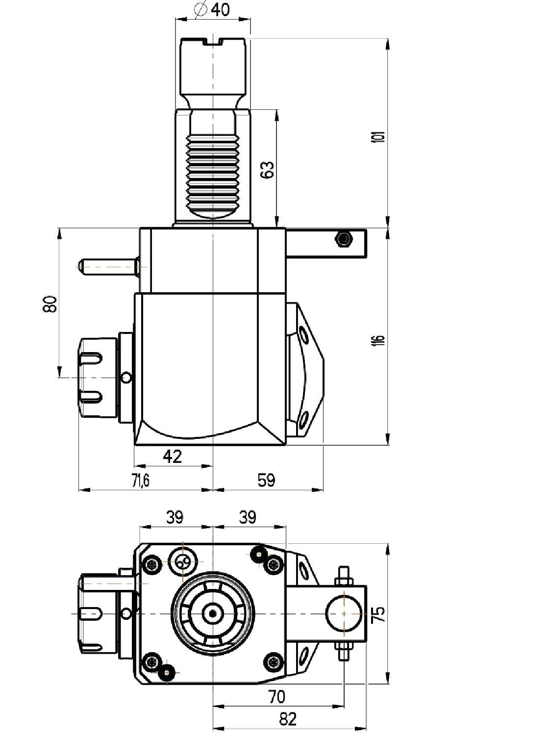 vdi 40 winkliger werkzeughalter kupplung gestuft ohne innenk hlung. Black Bedroom Furniture Sets. Home Design Ideas
